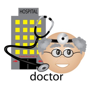Computer in hospital clipart jpg library Hospital Clipart Image - Medical Icon of Mature Male Doctor with ... jpg library