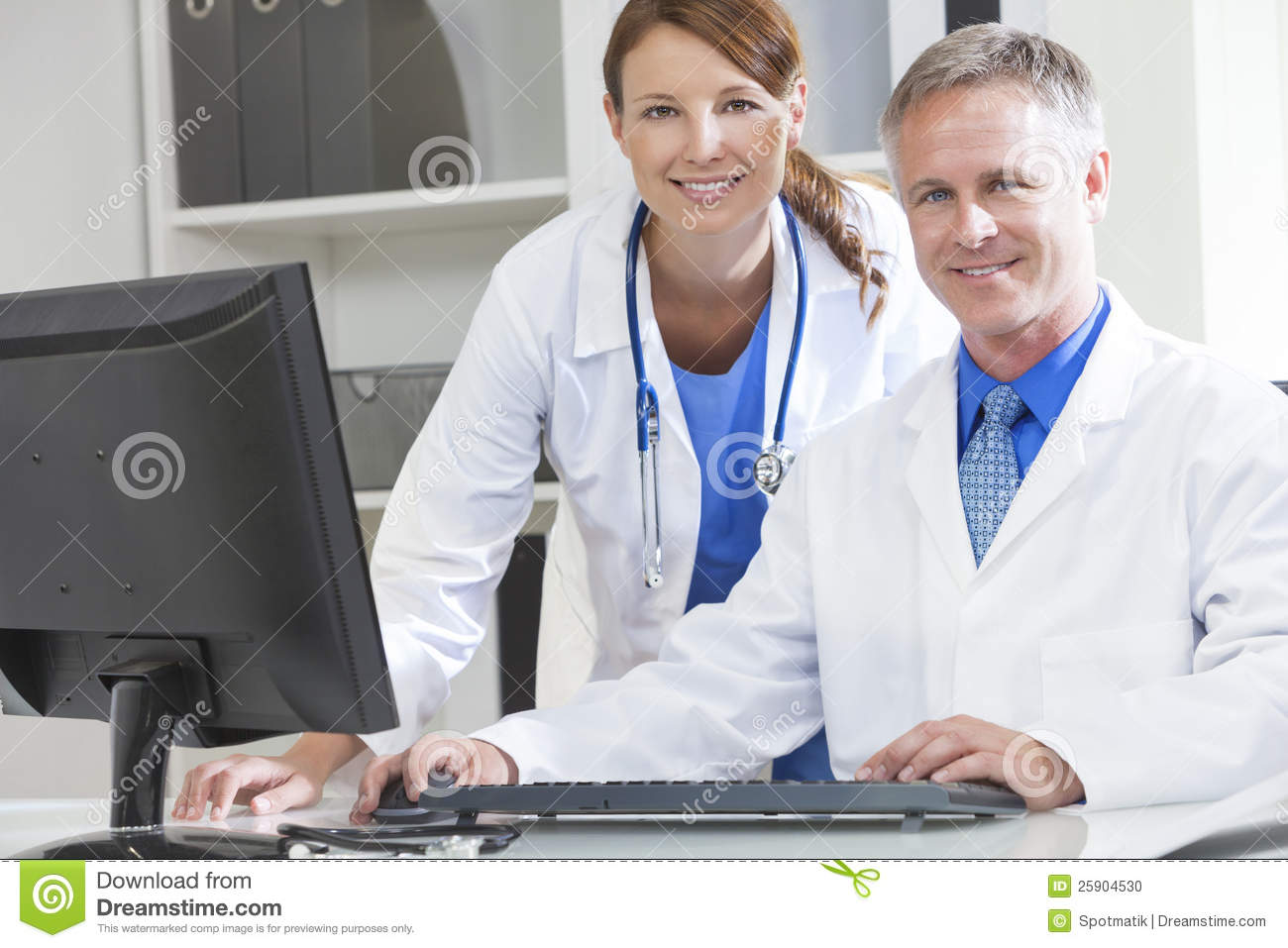 Computer in hospital clipart svg transparent Male Female Hospital Doctors Using Computer Royalty Free Stock ... svg transparent