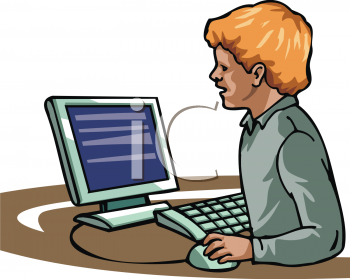 Computer in school clipart graphic black and white library Clipart Picture of a Boy Using a Computer graphic black and white library