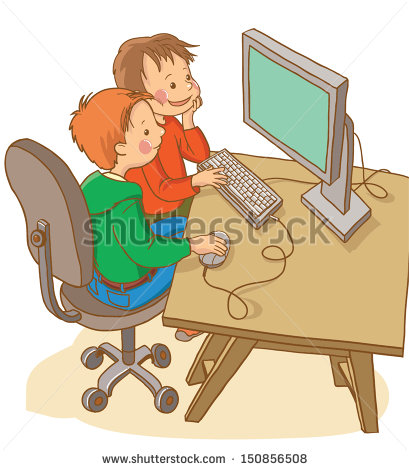 Computer in school clipart svg free stock Kids Computer Stock Vectors, Images & Vector Art | Shutterstock svg free stock