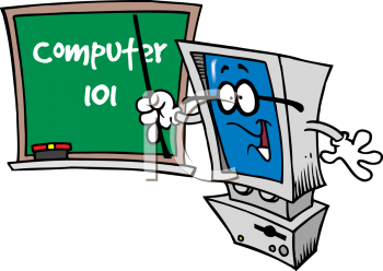 Computer in school clipart png free library Clipart of a Computer 101 Teacher Pointing Towards a Chalkboard png free library