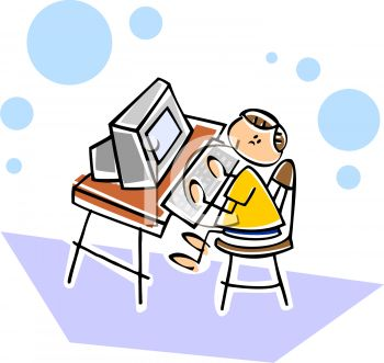Computer in school clipart png royalty free Little Boy Using a Computer at School or at Home - Royalty Free ... png royalty free