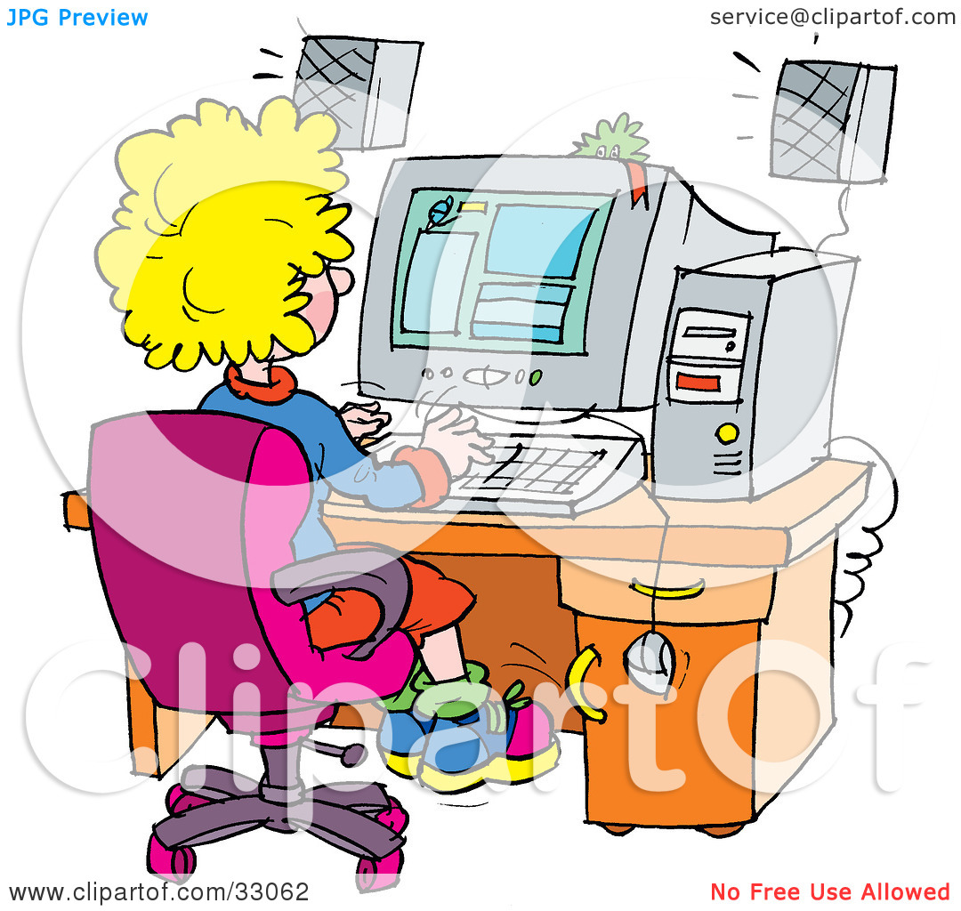 Computer in school clipart jpg black and white stock Clipart Illustration of a School Girl Using A Computer In A School ... jpg black and white stock