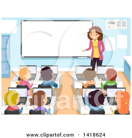 Computer in school clipart graphic free download Royalty-Free (RF) Computer Class Clipart, Illustrations, Vector ... graphic free download