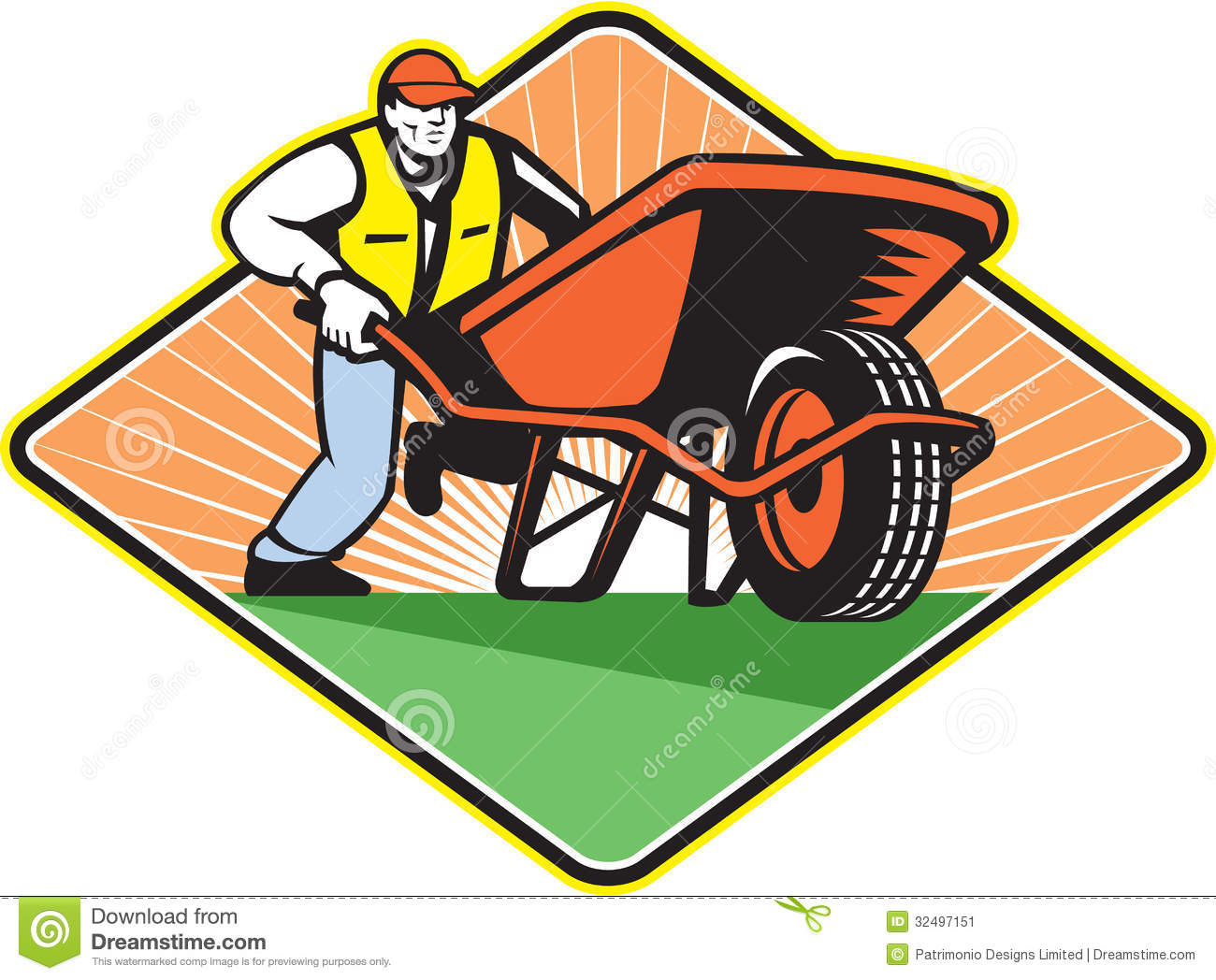 Computer in wheelbarrow clipart. Clipartfest gardener pushing