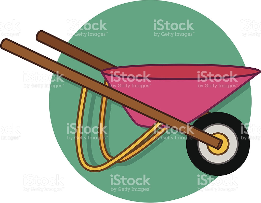 Computer in wheelbarrow clipart. Garden stock vector art