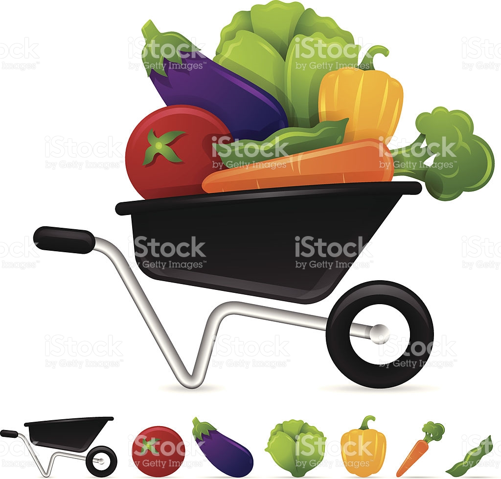 Vegetables stock vector art. Computer in wheelbarrow clipart