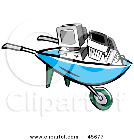 Computer in wheelbarrow clipart. Royalty free rf illustration