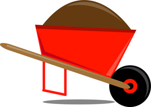 Computer in wheelbarrow clipart. Image a full of