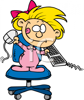 Computer keyboard and mouse clipart banner black and white download Royalty Free Clip Art Image: Toddler Girl Playing with Computer ... banner black and white download