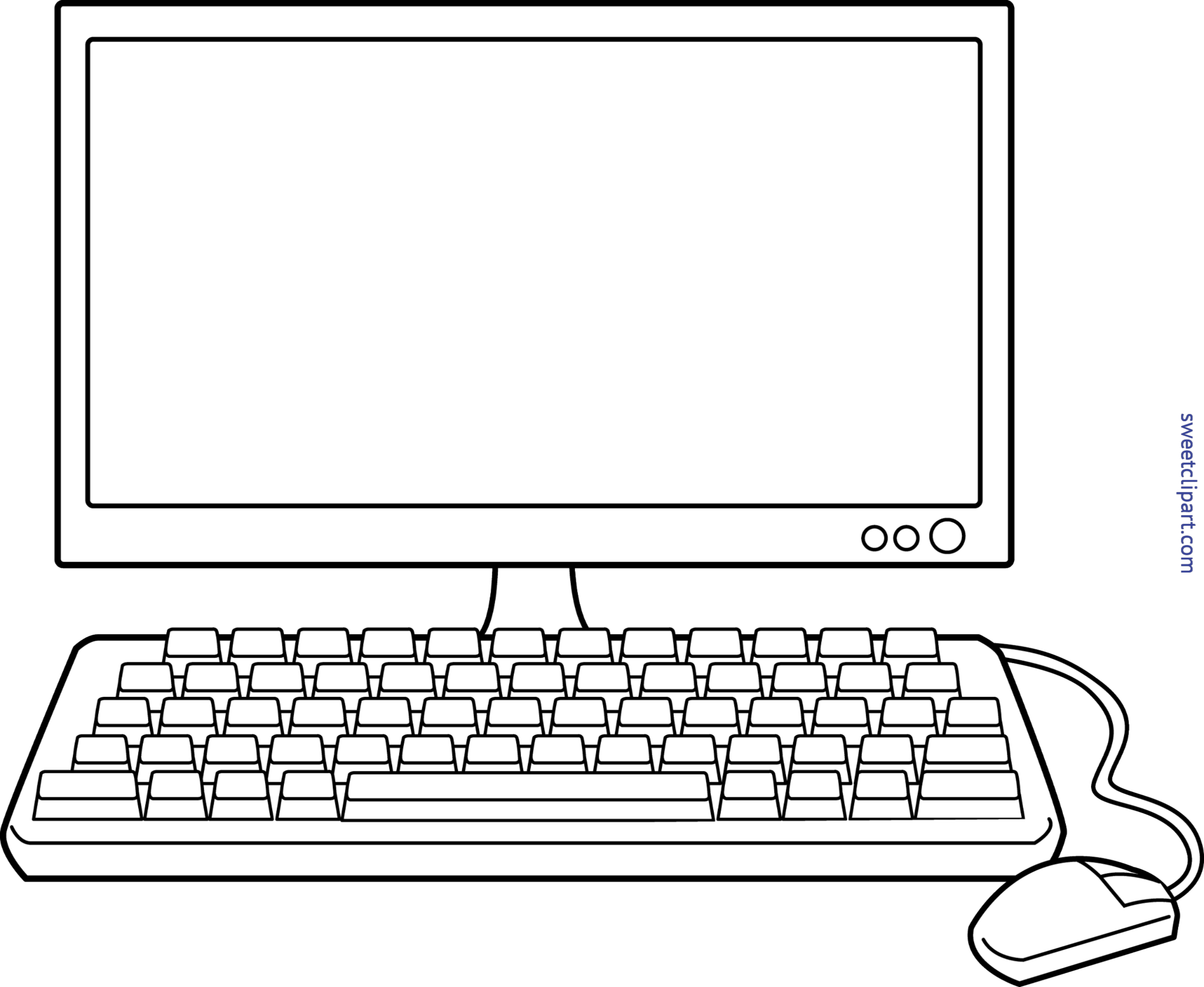 Computer keyboard clipart graphic library library Desktop Computer Lineart Clip Art - Sweet Clip Art graphic library library