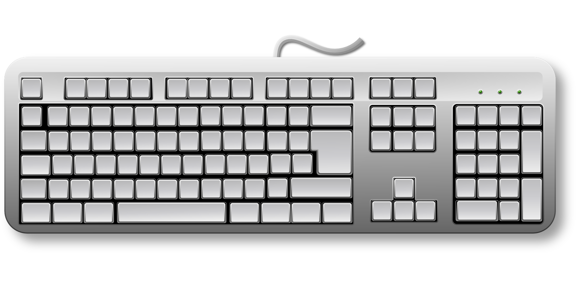 Computer keyboard keys clipart image library stock Keyboard keys computer hardware black white drawing free image image library stock