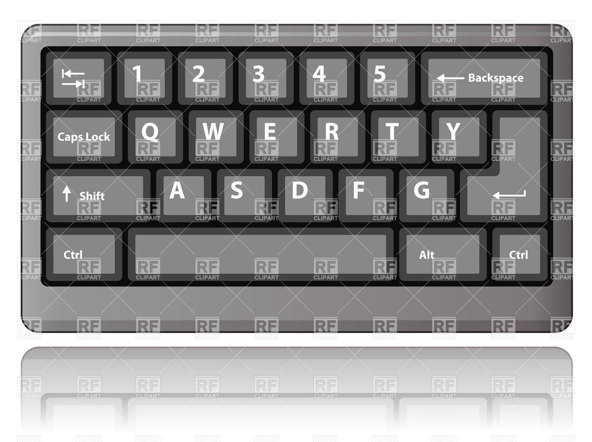 Grey vector image rfclipart. Computer keyboard clipart eps
