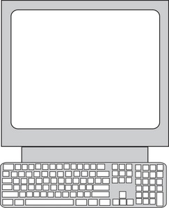Computer monitor and keyboard clipart. Image pc with