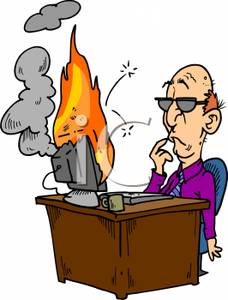 Computer on fire clipart jpg library stock Cartoon of a Man with His Computer on Fire - Royalty Free Clipart ... jpg library stock
