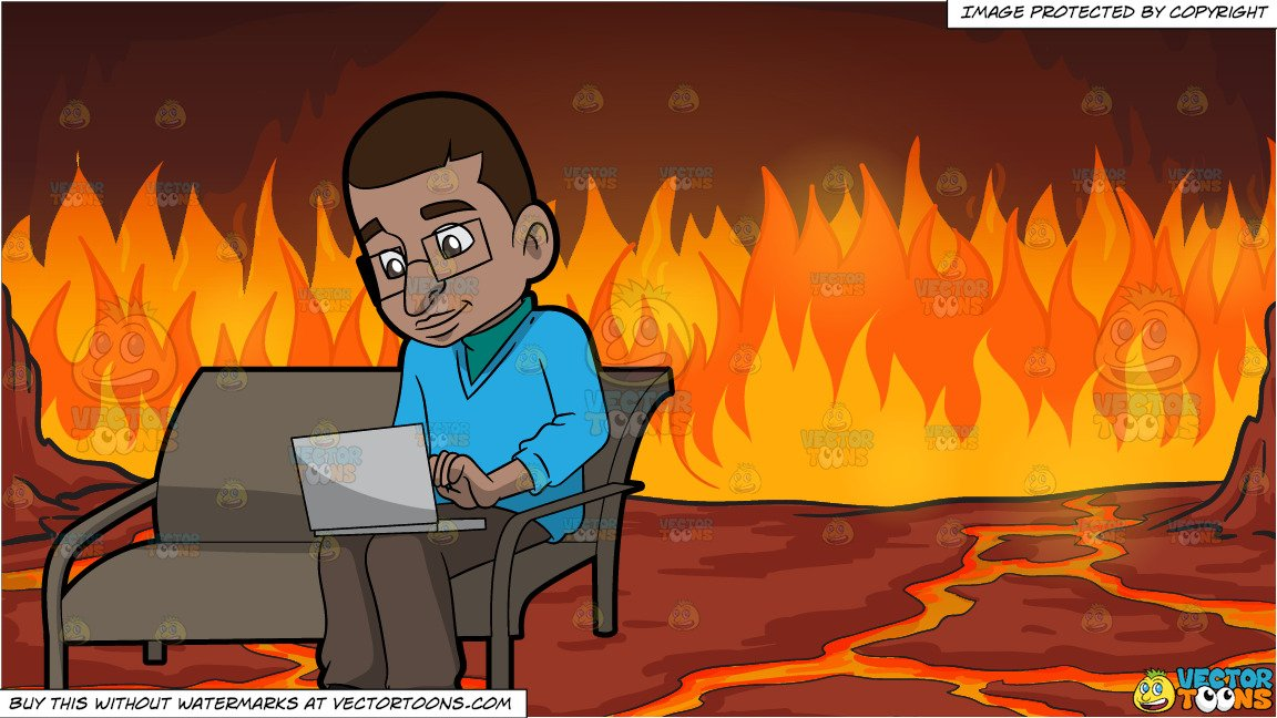 Computer on fire clipart clip freeuse A Black Man Using His Laptop Computer and Fires Of Hell Background clip freeuse