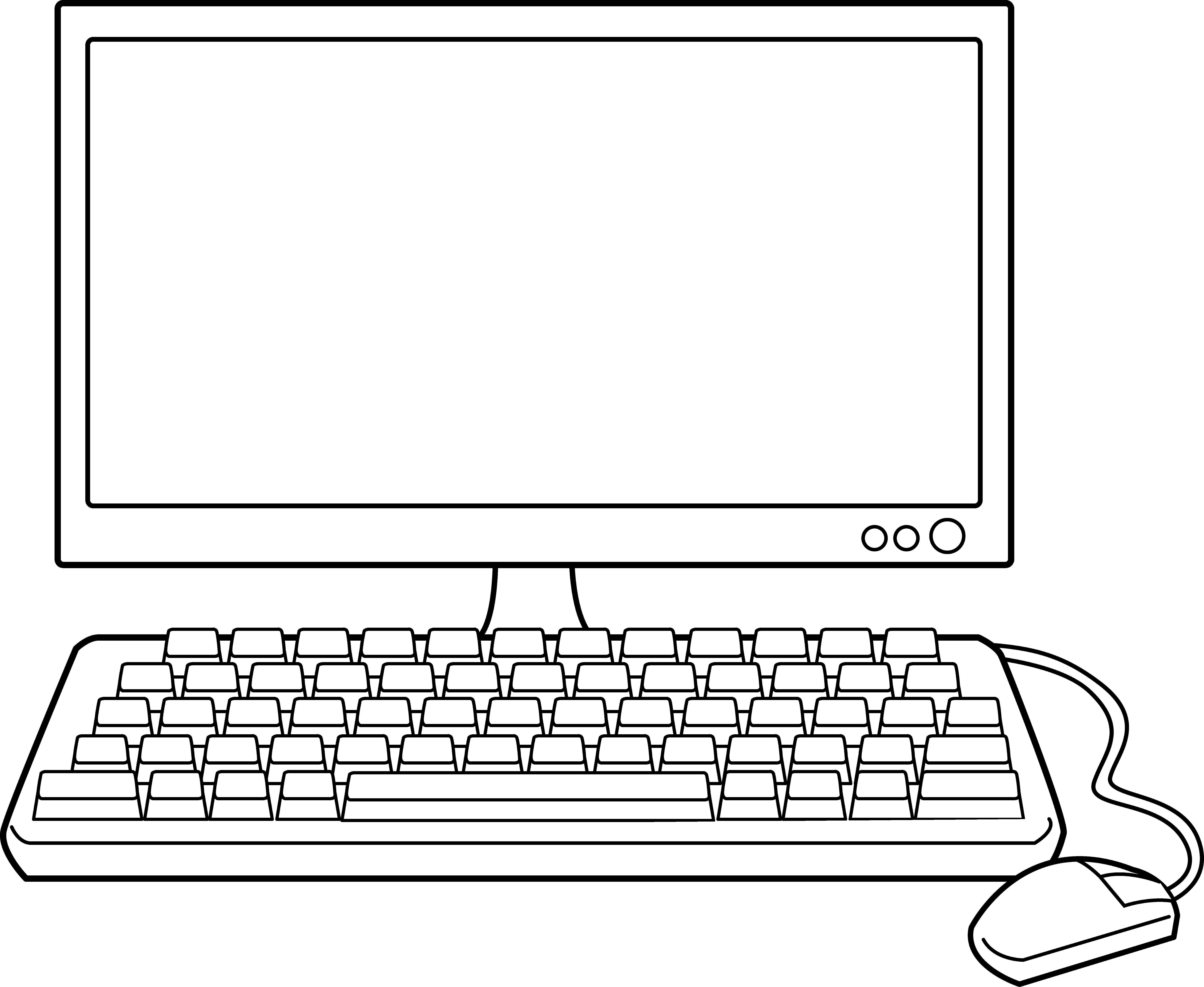 Computer outline clipart clip art library Desktop Computer Line Art - Free Clip Art clip art library