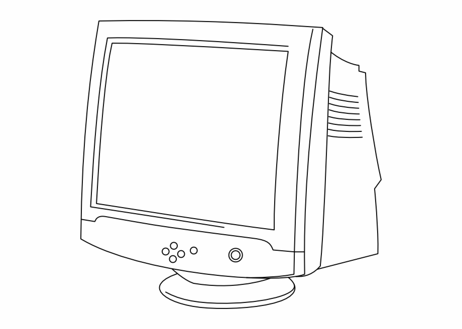 Computer outline clipart graphic free Original Png Clip Art File Outline Computer Monitor - Crt Monitor ... graphic free
