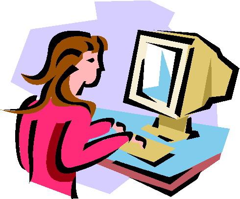 Girl at computer clipart
