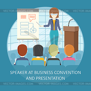 Concept training clipart svg library stock Business Training Concept in Flat Design - vector clipart svg library stock