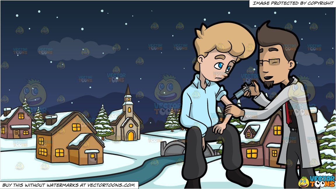 Concerned girl friend clipart banner royalty free stock A Lonely Man Getting An Injection From A Concerned Doctor and Winter Night  In A Small Town Background banner royalty free stock