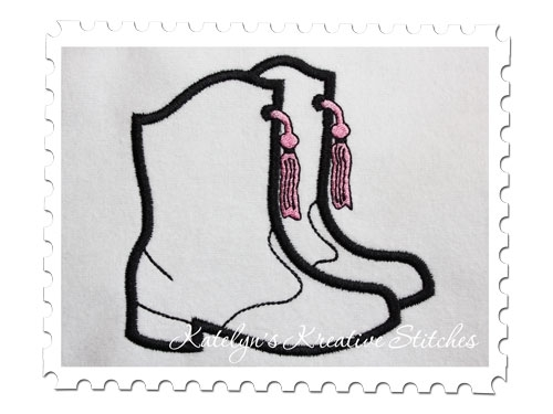 Concho with tassel drill team boot clipart picture royalty free Drill Team Boots Applique - 3 Sizes! - Products - SWAK Embroidery picture royalty free