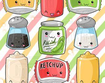 Condimentos clipart jpg freeuse download Kawaii Emoticons Clipart - Cute Faces Download - Kawaii Design ... jpg freeuse download