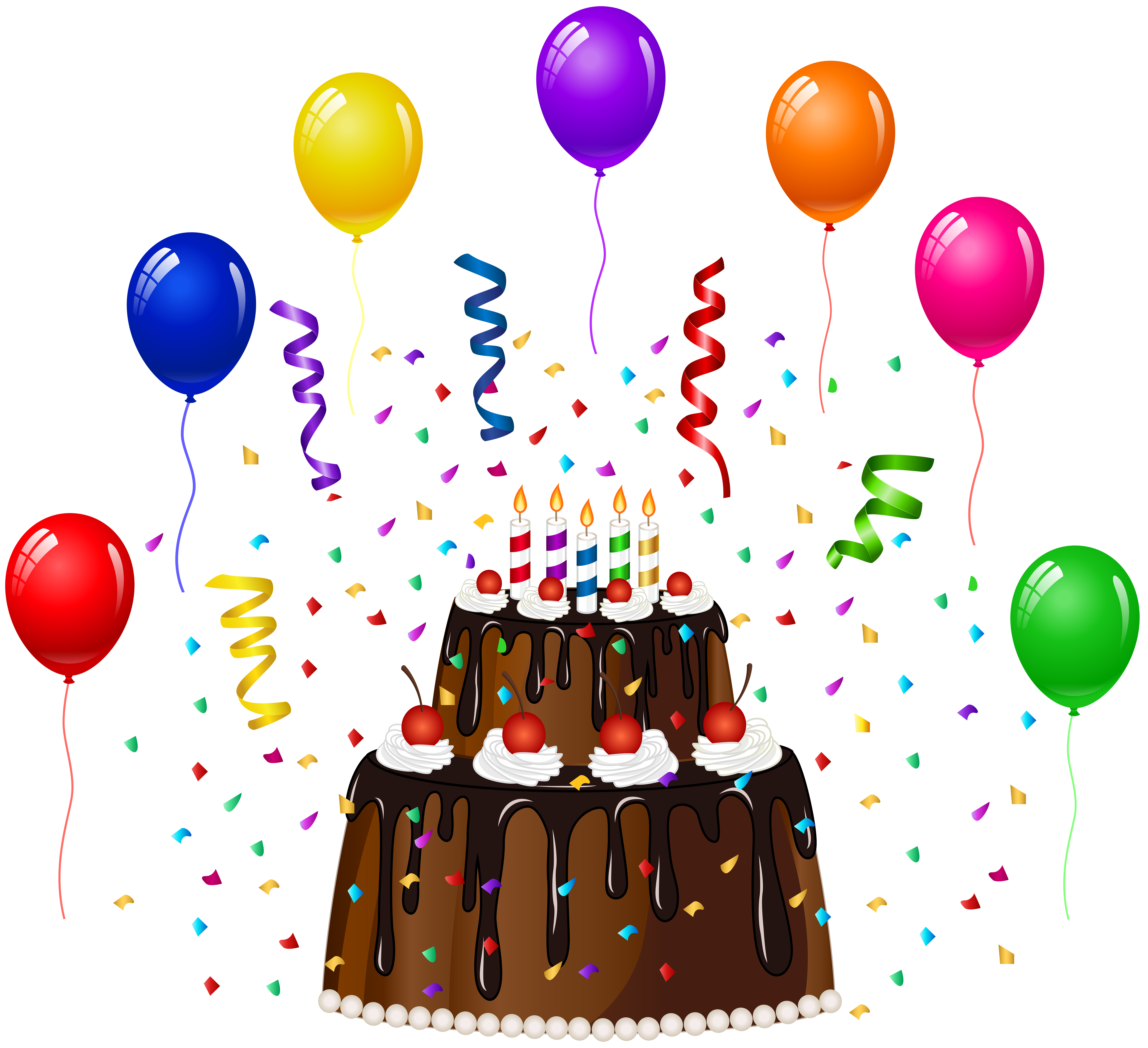 Confetti cake clipart svg library download Birthday Cake with Confetti and Balloons PNG Clip Art | Gallery ... svg library download