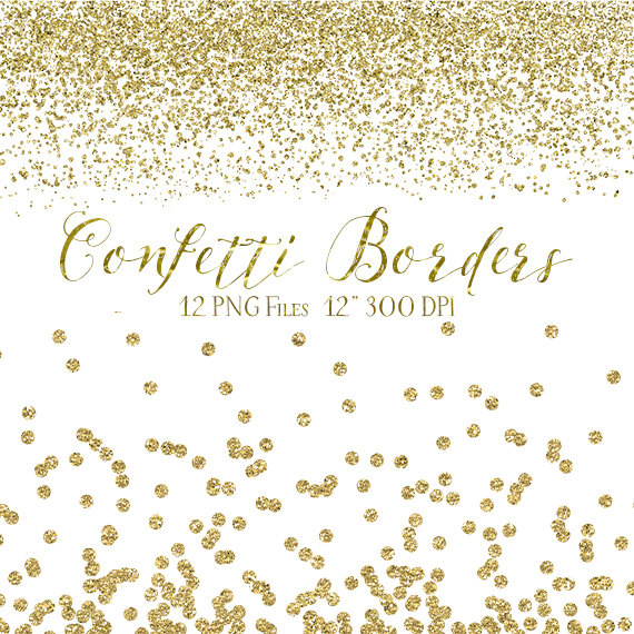 Pink and gold border clipart picture Gold Confetti Borders - Glitter Confetti Clipart - Digital Confetti ... picture