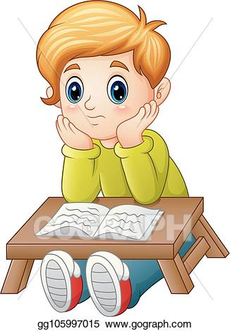 Confused child clipart svg royalty free download Vector Art - Little boy confused read a book. EPS clipart ... svg royalty free download