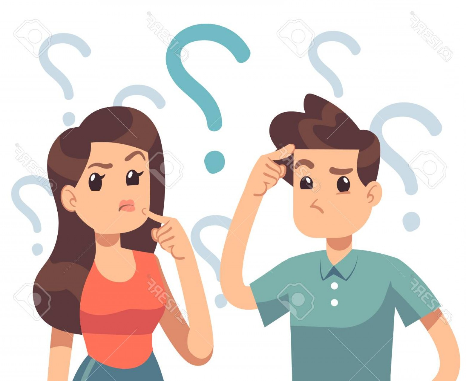 Confused woman clipart graphic free download Photostock Vector Young Troubled Couple Confused Woman And Man ... graphic free download