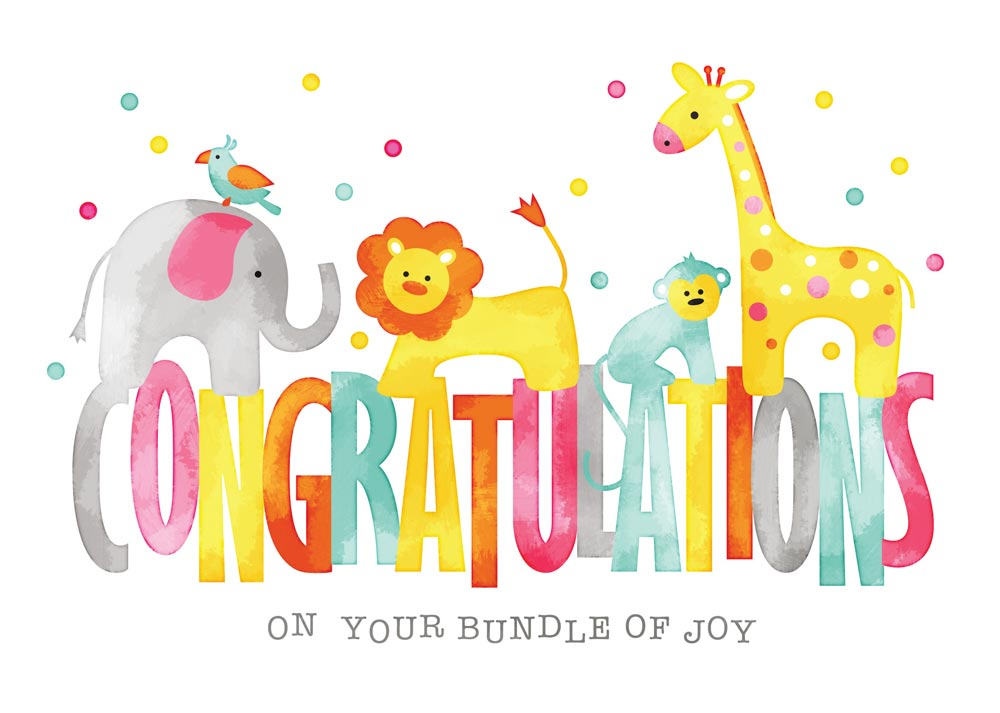 Congratulations new baby clipart banner transparent stock Baby Animals Congratulations Card banner transparent stock