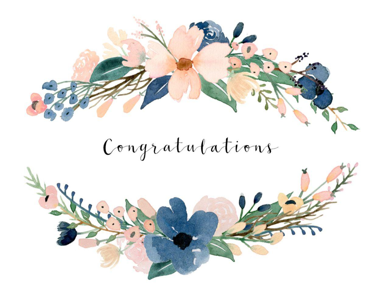 Congratulations images with flowers clipart clipart royalty free library Watercolor Flower Card Congratulations Images clipart royalty free library
