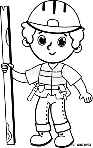 Construction black and white clipart images png transparent stock Clip art of black and white construction worker. Vector ... png transparent stock
