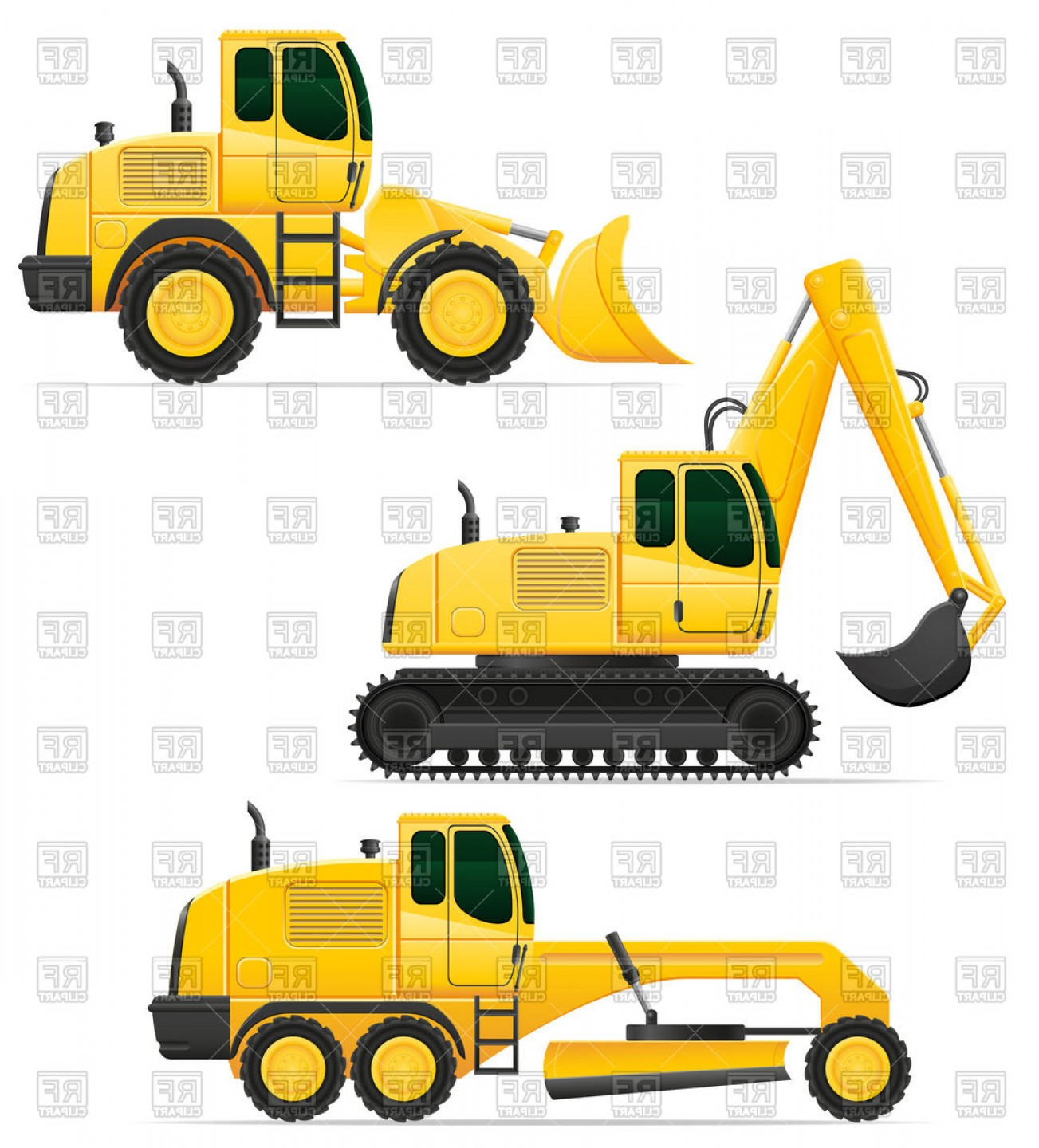 Construction machinery clipart jpg black and white stock Construction Machinery Dozer Excavator Asphalt Paver And Tractor ... jpg black and white stock
