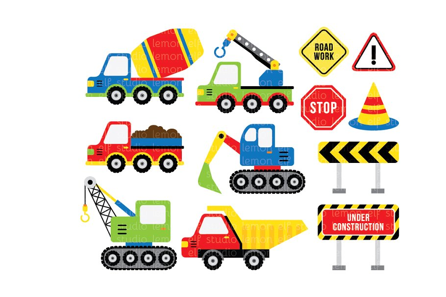 Construction pictures clipart banner black and white stock Construction Clipart (LES.CL25B) banner black and white stock