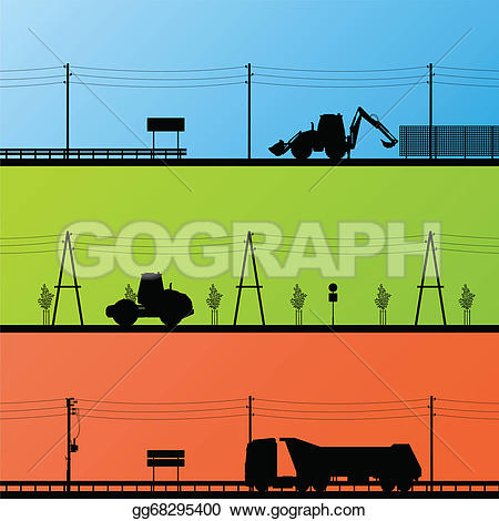 Construction site background clipart freeuse library Vector Art - Highway roadway construction site roadwork landscape ... freeuse library