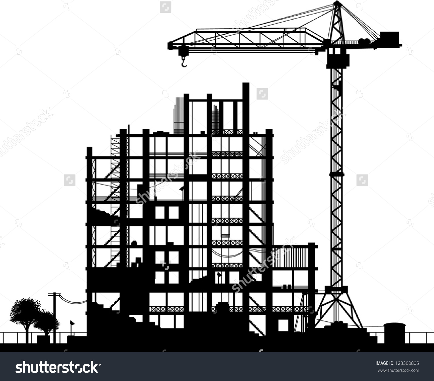 Construction site background clipart svg free download Construction Site Silhouette On White Background Stock Vector ... svg free download