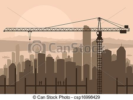 Construction site background clipart royalty free stock Vector Illustration of Industrial skyscraper city and construction ... royalty free stock