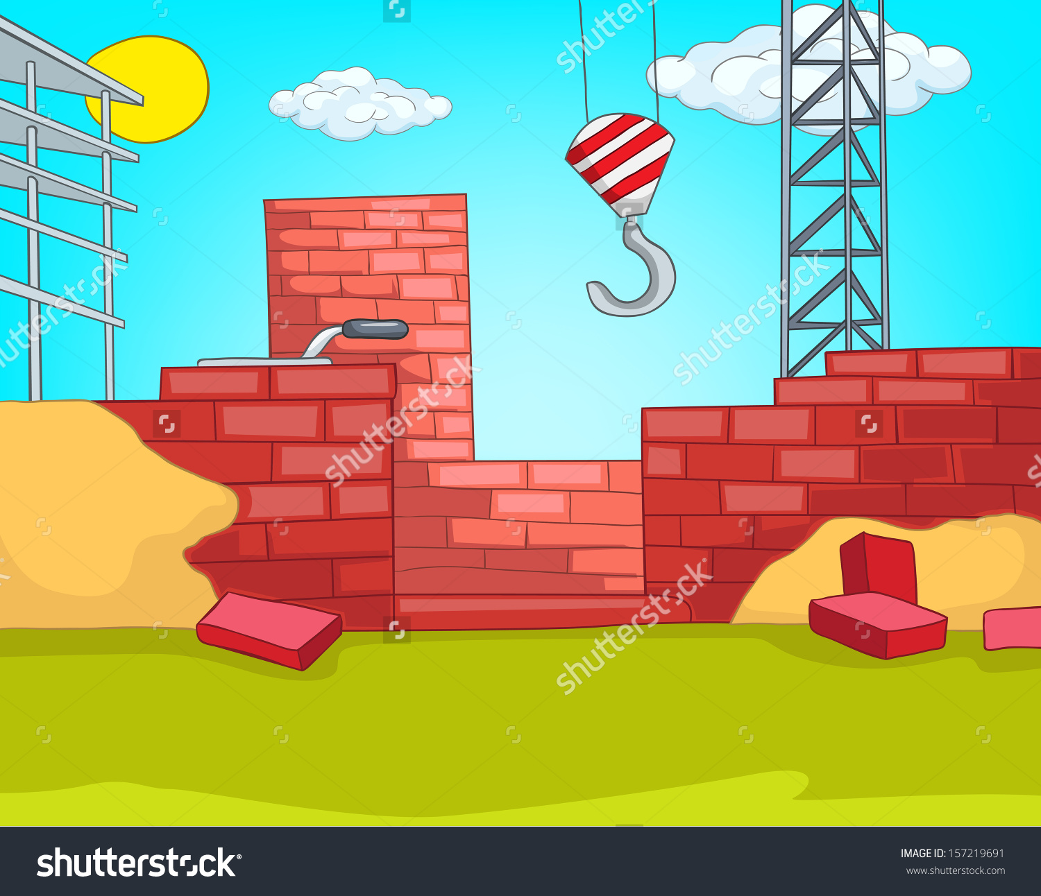 Construction site background clipart graphic free House Construction Cartoon Background Vector Illustration Stock ... graphic free