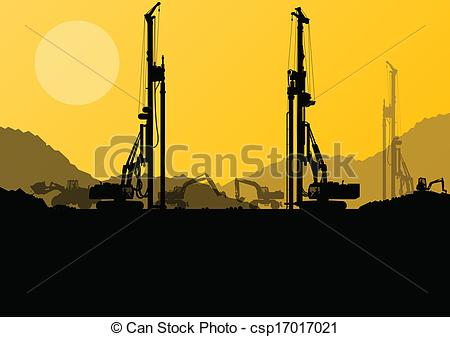 Construction site background clipart vector freeuse download Vector Illustration of Excavator loaders, hydraulic pile drilling ... vector freeuse download