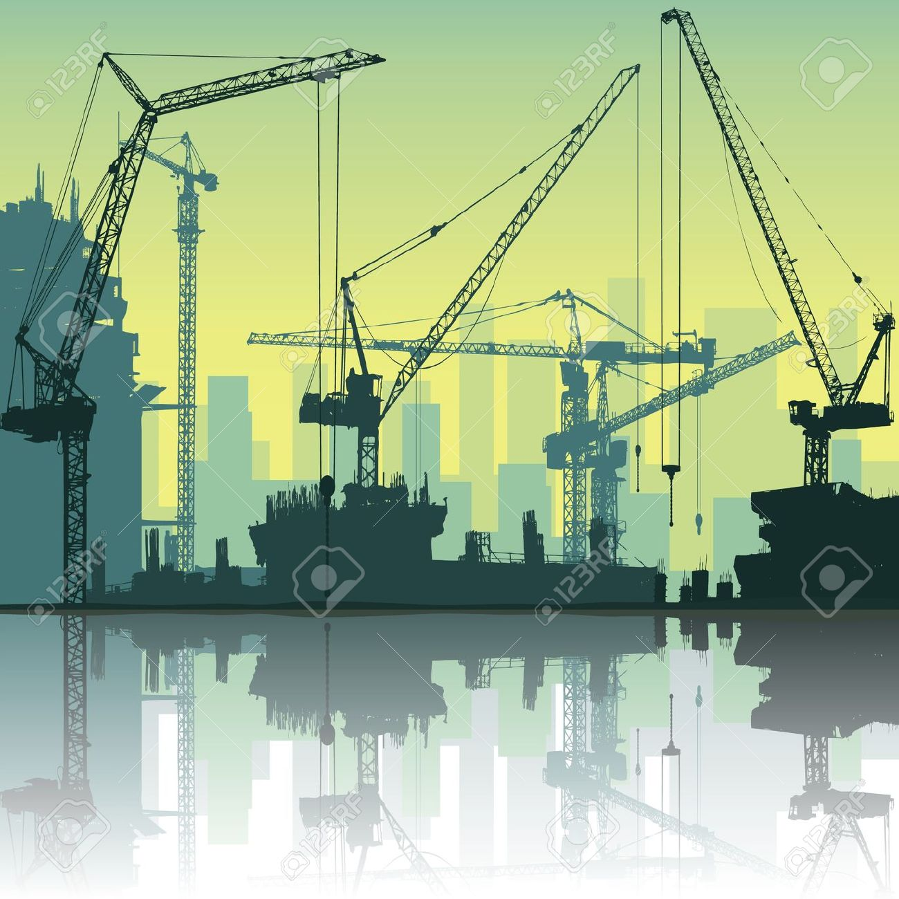 Construction site background clipart svg free Lots Of Tower Cranes On Construction Site With Reflection In ... svg free