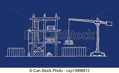 Construction site clip art vector black and white download Vector Clip Art of Construction site cartoon blueprint csp13998813 ... vector black and white download