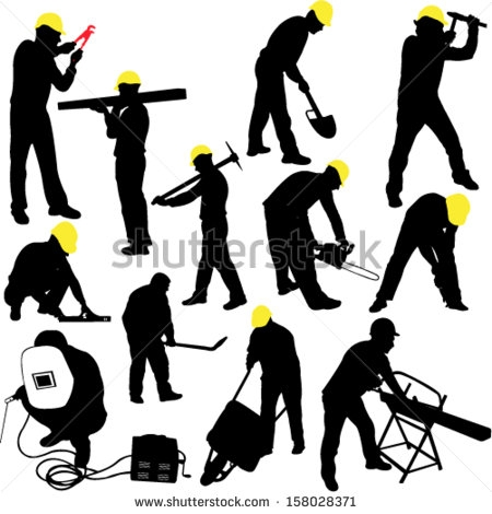 Construction worker silhouette clipart svg black and white download Construction Worker Silhouette   Free download best ... svg black and white download
