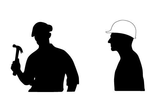 Construction worker silhouette clipart jpg freeuse download Two Free Construction Worker Vector Silhouettes Download Now ... jpg freeuse download