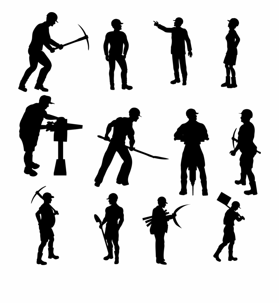 Construction worker silhouette clipart stock Workers Silhouettes Set - Construction Worker Vectors Free ... stock