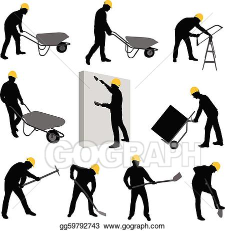 Laborers clipart vector royalty free EPS Vector - Construction workers 2 . Stock Clipart ... vector royalty free