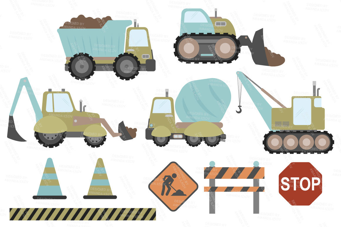 Constructionvehicle clipart picture transparent library Vintage Vector Construction Trucks Clipart By Amanda Ilkov ... picture transparent library
