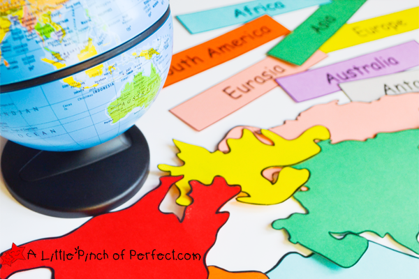 Continents map clipart to glue on globe graphic black and white library World Map Geography Activities For Kids + Free Printable - graphic black and white library
