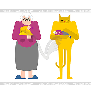 Contrary clipart jpg free download Grandmother and cat contrary. Granny strokes pet. - vector clipart jpg free download